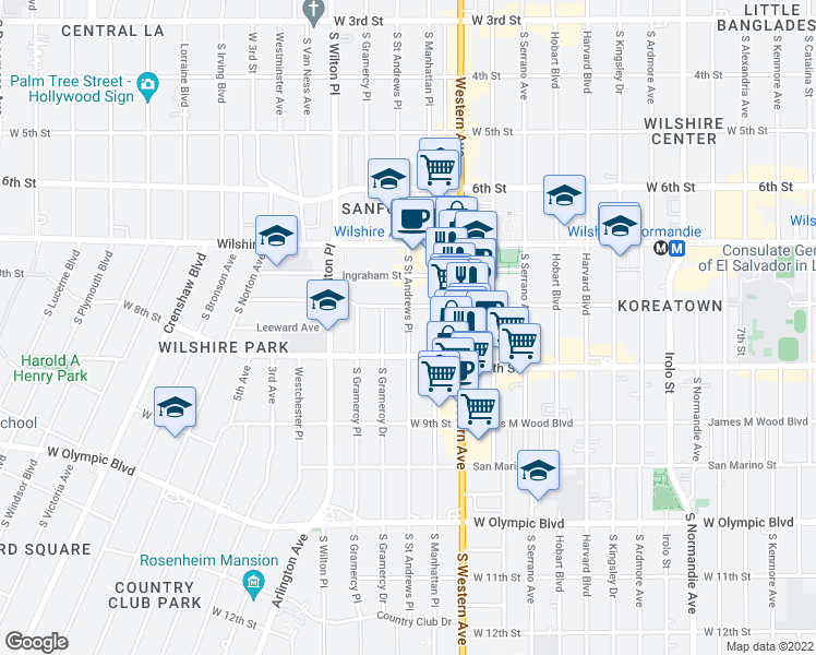 map of restaurants, bars, coffee shops, grocery stores, and more near 716 South Saint Andrews Place in Los Angeles