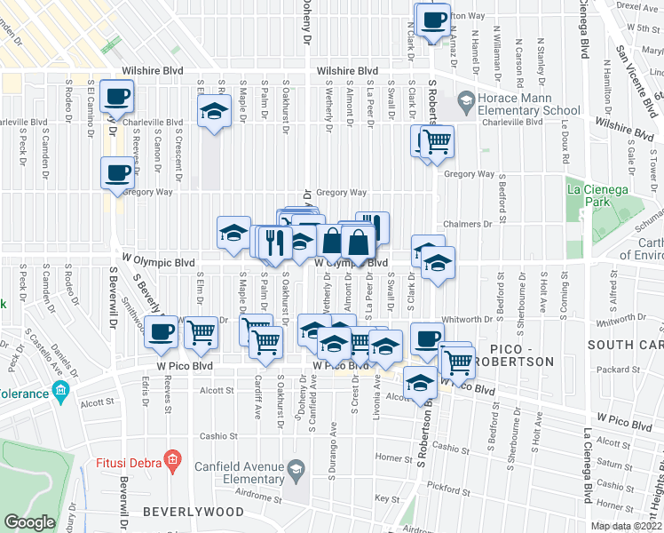 map of restaurants, bars, coffee shops, grocery stores, and more near 9030 West Olympic Boulevard in Beverly Hills