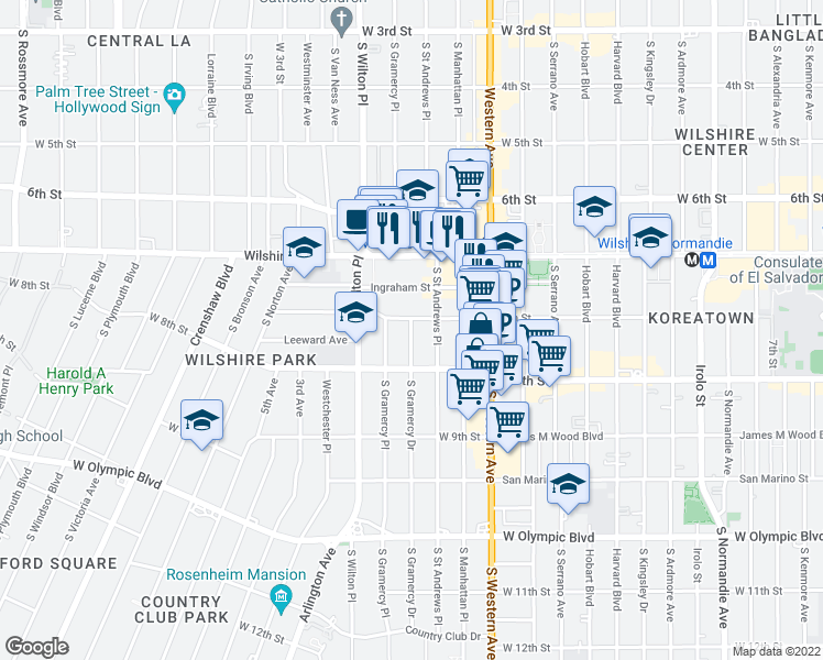 map of restaurants, bars, coffee shops, grocery stores, and more near 721 South Gramercy Drive in Los Angeles