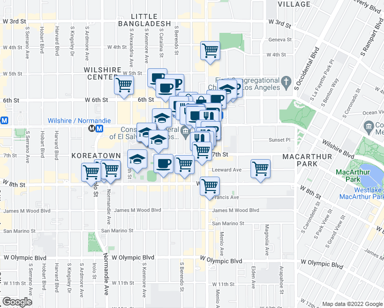 map of restaurants, bars, coffee shops, grocery stores, and more near 679 S New Hampshire Ave in Los Angeles