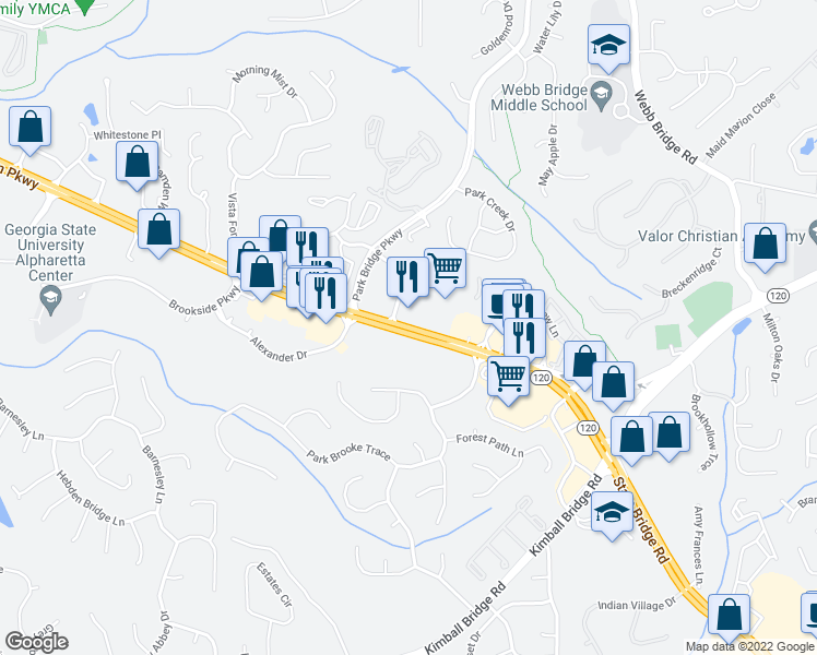 map of restaurants, bars, coffee shops, grocery stores, and more near 11539 Park Woods Circle in Alpharetta