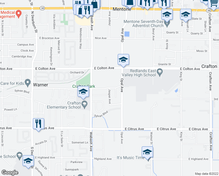 map of restaurants, bars, coffee shops, grocery stores, and more near 30590-30598 Independence Avenue in Redlands