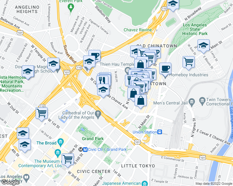 map of restaurants, bars, coffee shops, grocery stores, and more near 636 N Hill Pl in Los Angeles