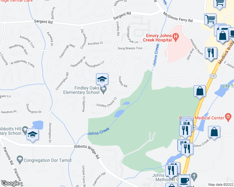 map of restaurants, bars, coffee shops, grocery stores, and more near 11440-11450 Findley Chase Court in Johns Creek