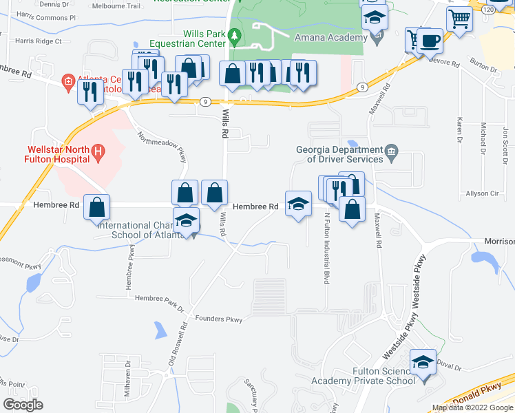 map of restaurants, bars, coffee shops, grocery stores, and more near 1525 Hembree Road in Alpharetta