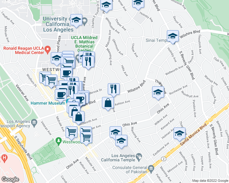 map of restaurants, bars, coffee shops, grocery stores, and more near 10727 Wilshire Boulevard in Los Angeles