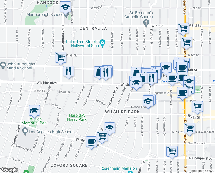 map of restaurants, bars, coffee shops, grocery stores, and more near 4250 Wilshire Boulevard in Los Angeles