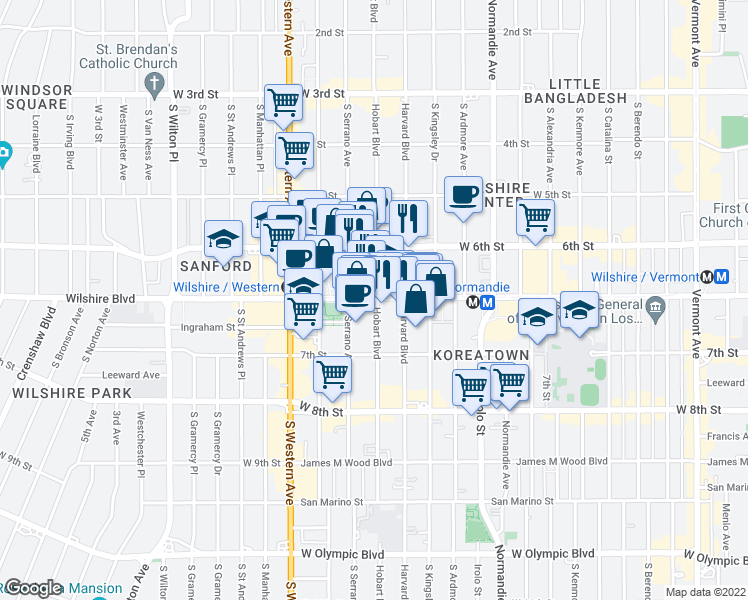 map of restaurants, bars, coffee shops, grocery stores, and more near 3650-3660 Wilshire Boulevard in Los Angeles