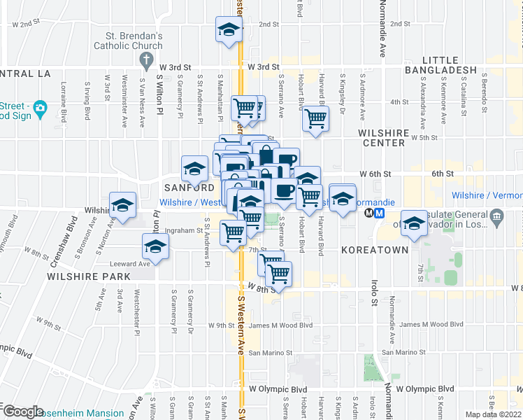 map of restaurants, bars, coffee shops, grocery stores, and more near 3739 Wilshire Blvd in Los Angeles