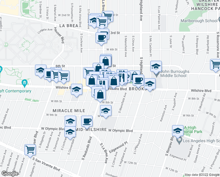 map of restaurants, bars, coffee shops, grocery stores, and more near 5164 Wilshire Boulevard in Beverly Hills