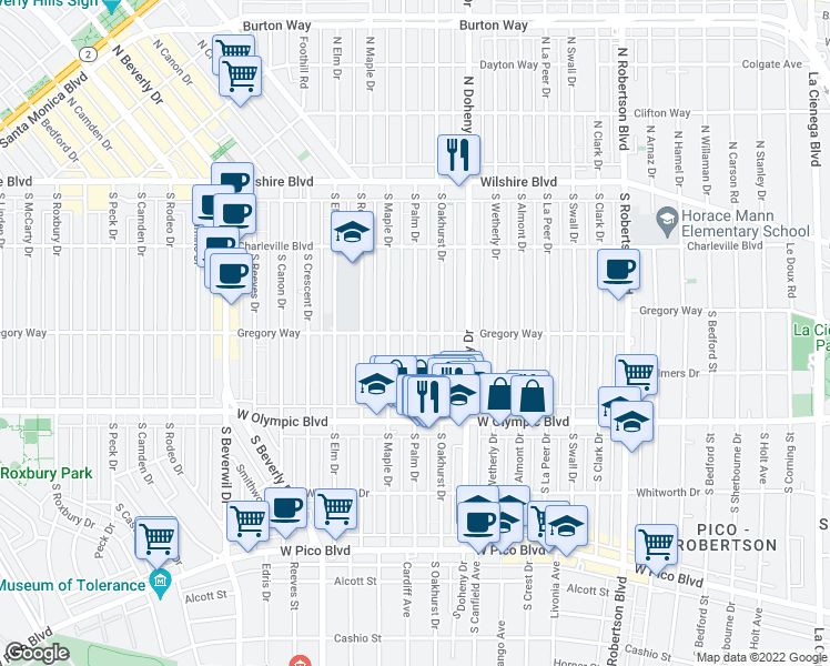 map of restaurants, bars, coffee shops, grocery stores, and more near S Palm Dr in Beverly Hills