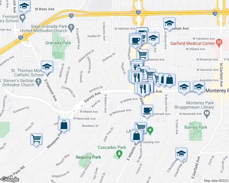 map of restaurants, bars, coffee shops, grocery stores, and more near W Garvey Ave in Monterey Park