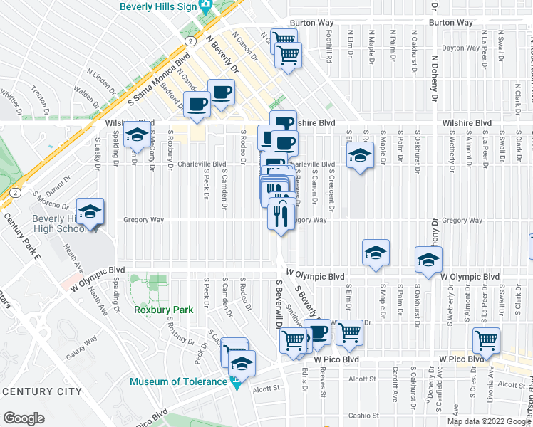 map of restaurants, bars, coffee shops, grocery stores, and more near 260 El Camino Drive in Beverly Hills