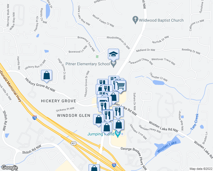 map of restaurants, bars, coffee shops, grocery stores, and more near 4530 Cindy Lane in Kennesaw
