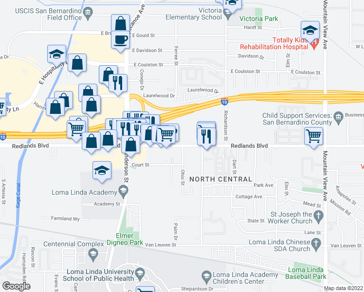 map of restaurants, bars, coffee shops, grocery stores, and more near 25101 Redlands Blvd in Loma Linda