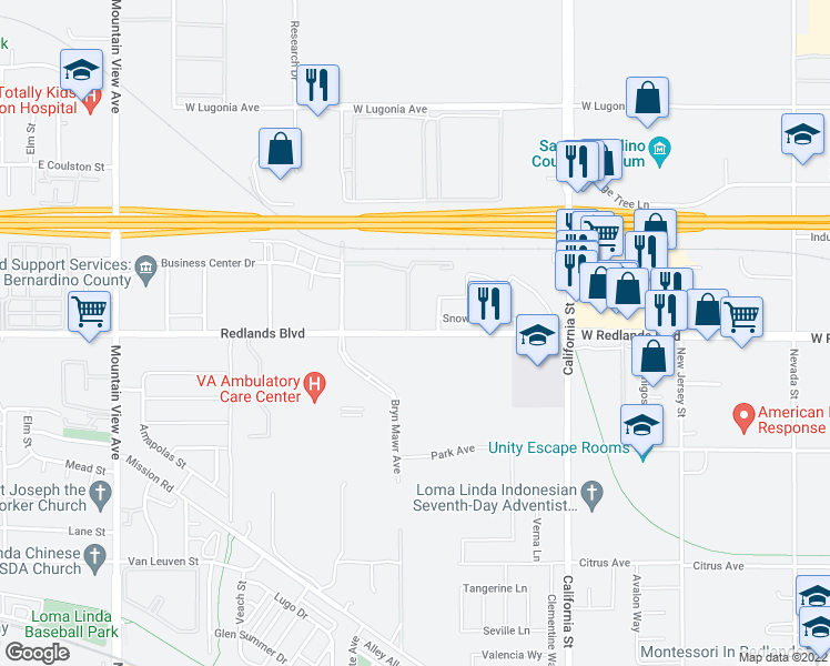 map of restaurants, bars, coffee shops, grocery stores, and more near 26200 Redlands Boulevard in Redlands