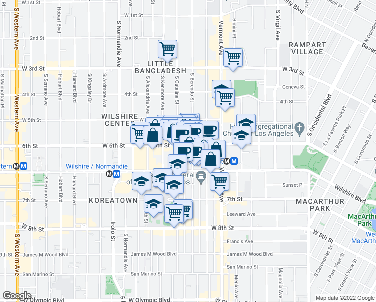 map of restaurants, bars, coffee shops, grocery stores, and more near 625 South Berendo Street in Los Angeles