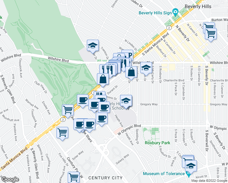 map of restaurants, bars, coffee shops, grocery stores, and more near 9950 Durant Drive in Beverly Hills