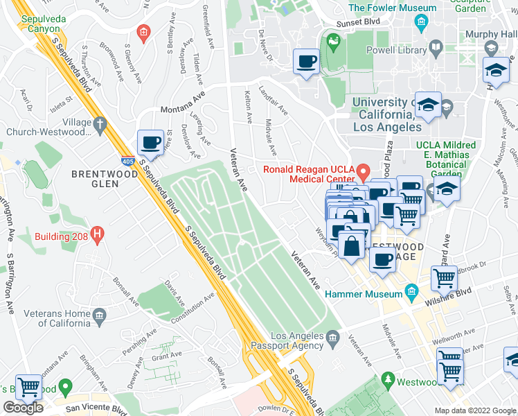 map of restaurants, bars, coffee shops, grocery stores, and more near Veteran Ave & Strathmore Dr in Los Angeles