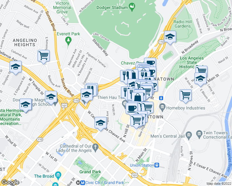 map of restaurants, bars, coffee shops, grocery stores, and more near 700-708 New Depot St in Los Angeles