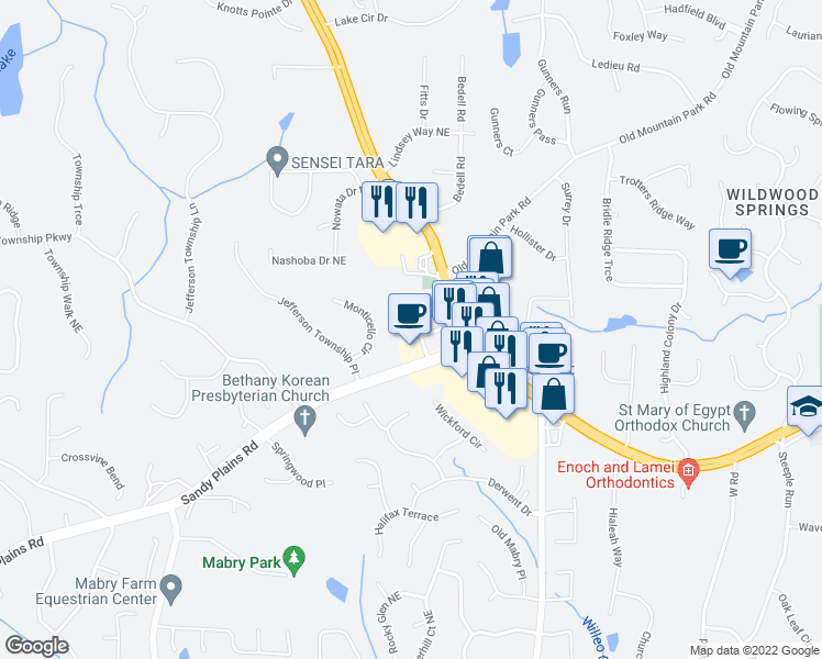 map of restaurants, bars, coffee shops, grocery stores, and more near 4671 Sandy Plains Road in Roswell