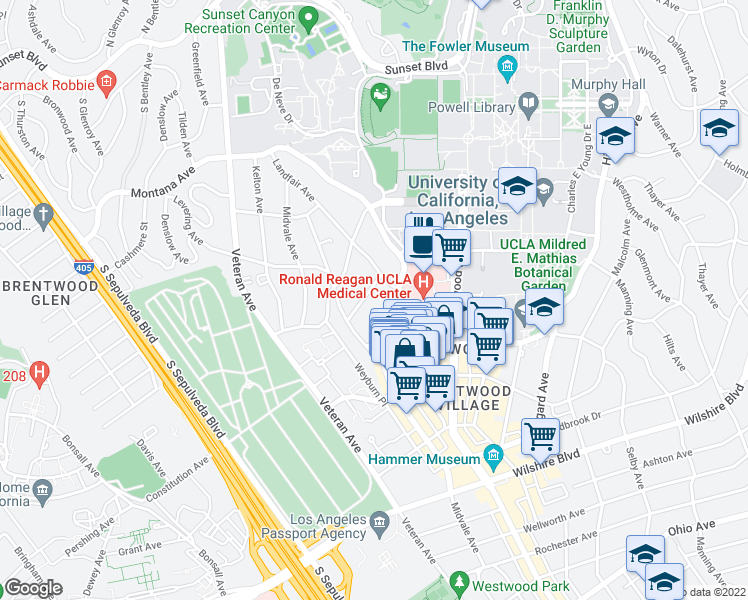 map of restaurants, bars, coffee shops, grocery stores, and more near 10966 Roebling Avenue in Los Angeles