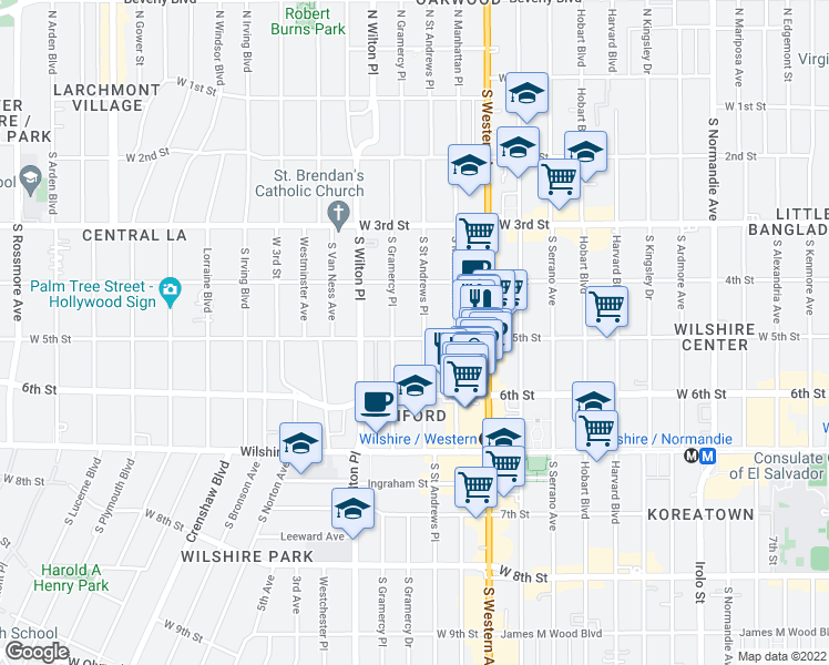 map of restaurants, bars, coffee shops, grocery stores, and more near 4255 West 5th Street in Los Angeles