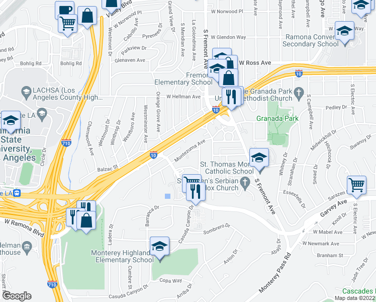 map of restaurants, bars, coffee shops, grocery stores, and more near Montezuma Ave in Alhambra