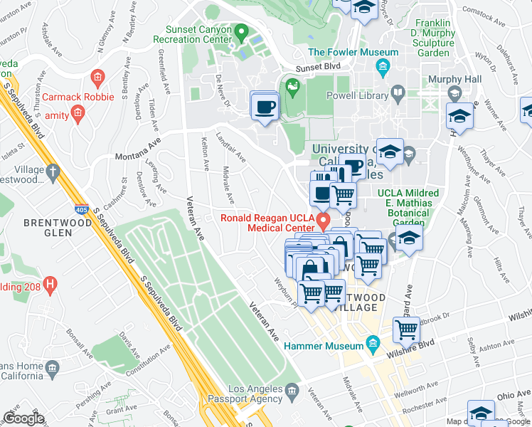 map of restaurants, bars, coffee shops, grocery stores, and more near 540 Glenrock Avenue in Los Angeles