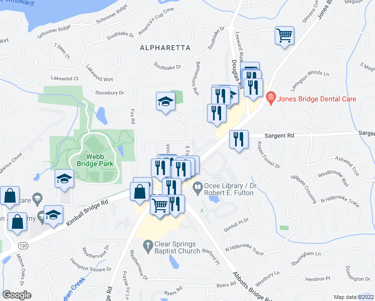map of restaurants, bars, coffee shops, grocery stores, and more near 11768 Wellsley Way in Alpharetta