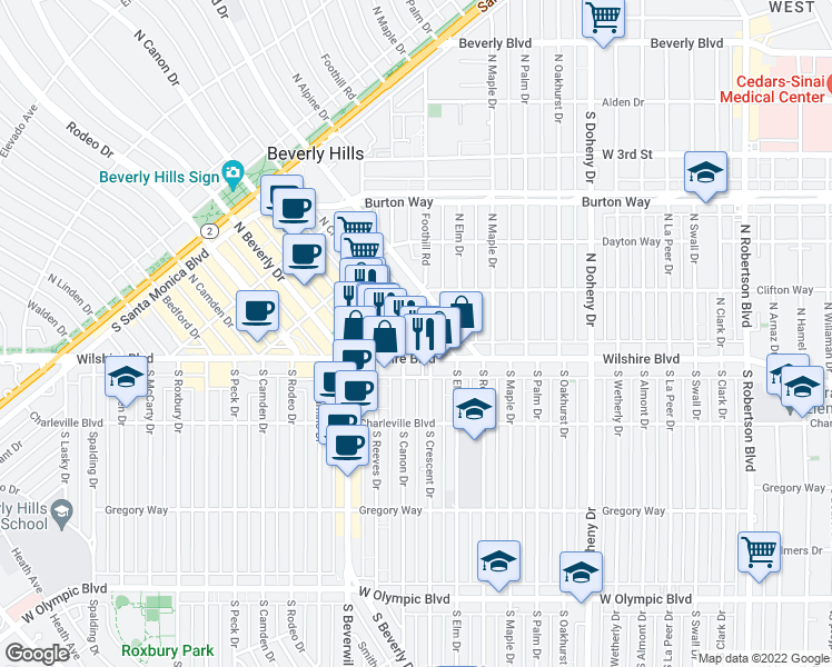 map of restaurants, bars, coffee shops, grocery stores, and more near 163-167 N Crescent Dr in Beverly Hills