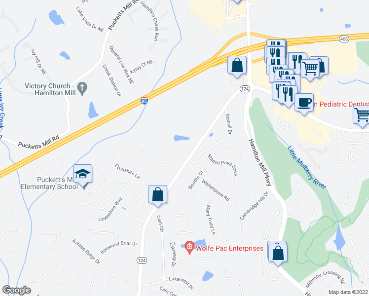 map of restaurants, bars, coffee shops, grocery stores, and more near 3208 Evonshire Ln in Dacula