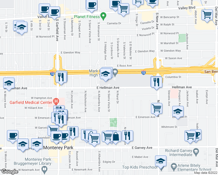 map of restaurants, bars, coffee shops, grocery stores, and more near 416 E Hellman Ave in Monterey Park