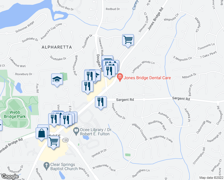 map of restaurants, bars, coffee shops, grocery stores, and more near 11914 Aspen Forest Drive in Johns Creek