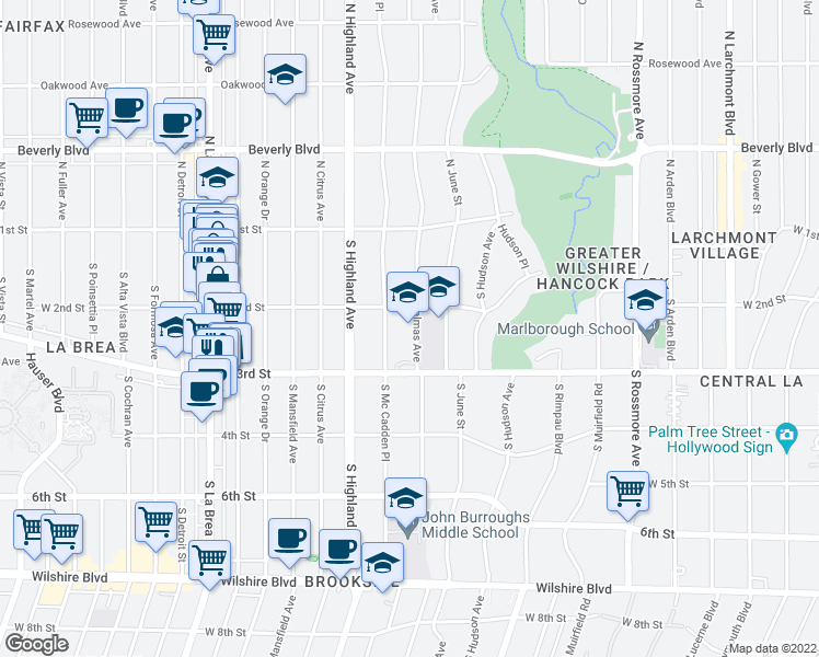 map of restaurants, bars, coffee shops, grocery stores, and more near 5350-5398 W 2nd St in Los Angeles
