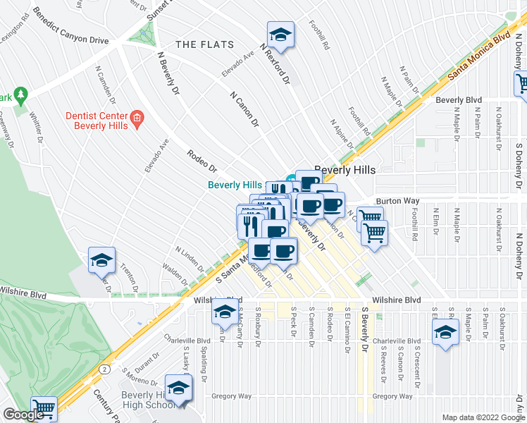 map of restaurants, bars, coffee shops, grocery stores, and more near 501 North Rodeo Drive in Beverly Hills