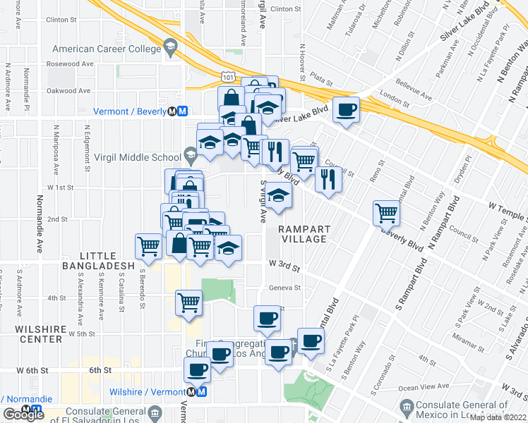 map of restaurants, bars, coffee shops, grocery stores, and more near 185 S Virgil Ave in Los Angeles