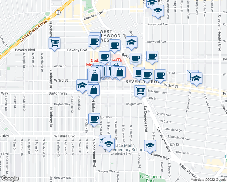 map of restaurants, bars, coffee shops, grocery stores, and more near 320 S Hamel Rd in Los Angeles