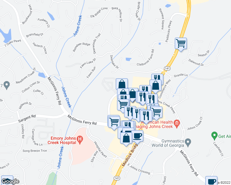 map of restaurants, bars, coffee shops, grocery stores, and more near 4310 Johns Creek Pkwy in Suwanee