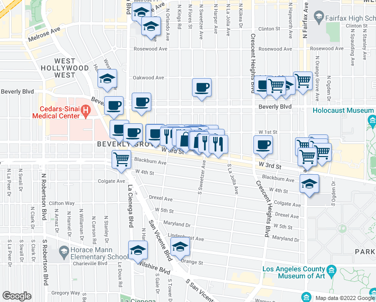 map of restaurants, bars, coffee shops, grocery stores, and more near 8330 West 3rd Street in Los Angeles