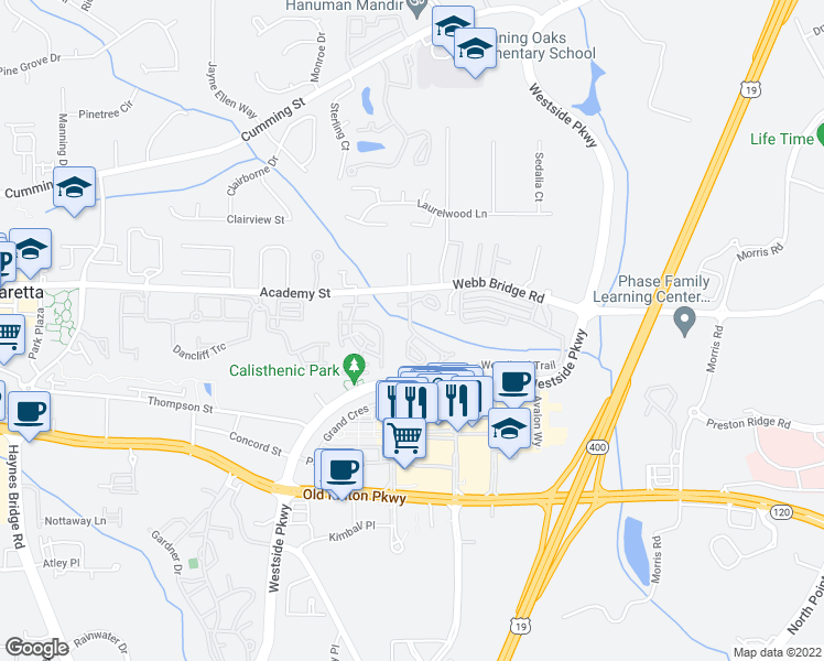 map of restaurants, bars, coffee shops, grocery stores, and more near 6301 Webb Bridge Road in Alpharetta