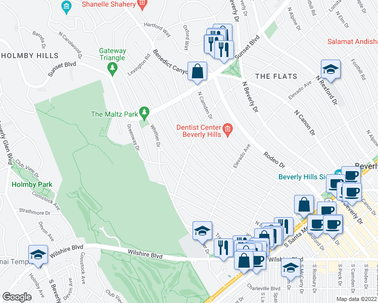 map of restaurants, bars, coffee shops, grocery stores, and more near Lomitas Ave & N Roxbury Dr in Beverly Hills