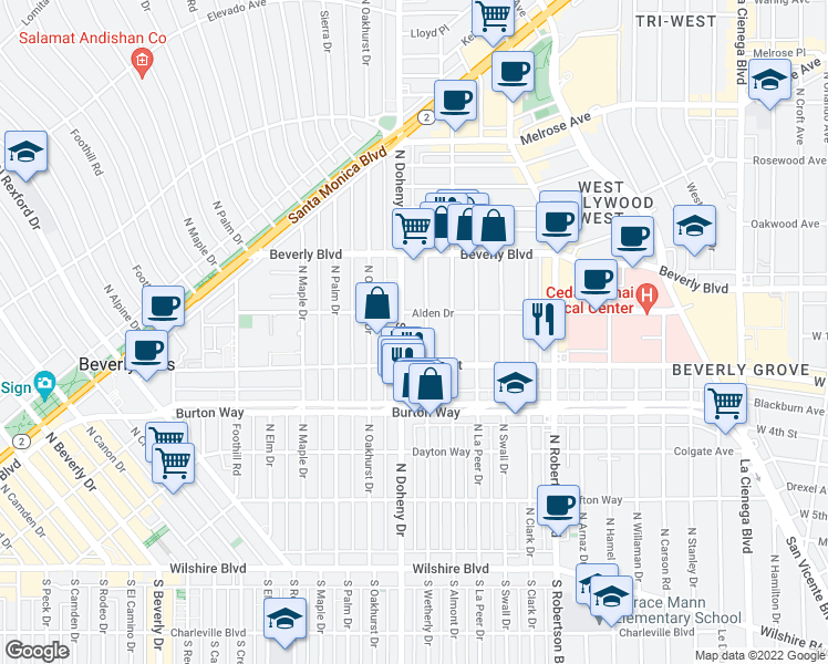 map of restaurants, bars, coffee shops, grocery stores, and more near 143 S Wetherly Dr in Los Angeles