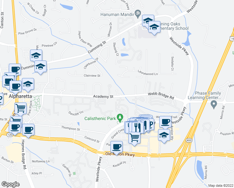 map of restaurants, bars, coffee shops, grocery stores, and more near Wade Creek Road in Alpharetta