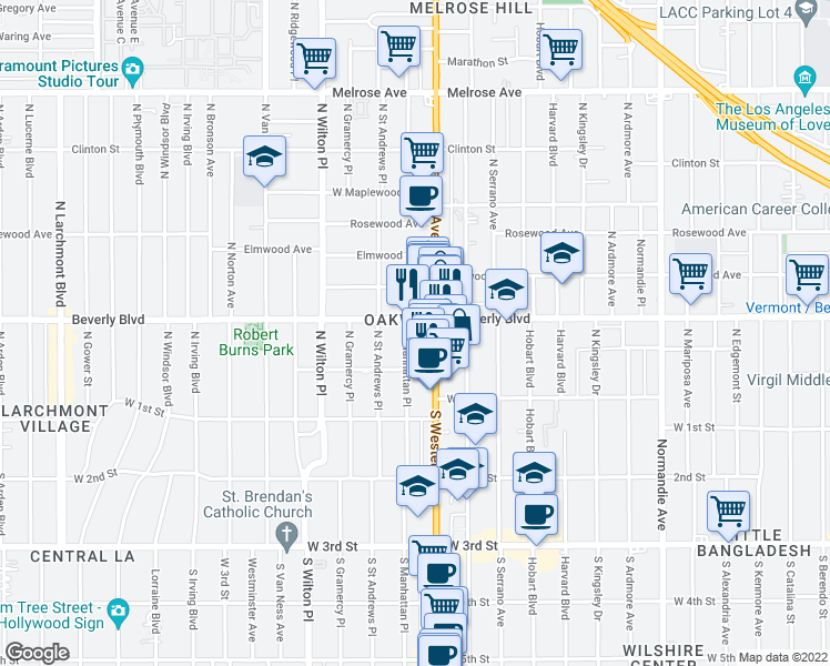 map of restaurants, bars, coffee shops, grocery stores, and more near 227 N Western Ave in Los Angeles