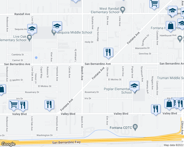 map of restaurants, bars, coffee shops, grocery stores, and more near Yew Ct in Fontana