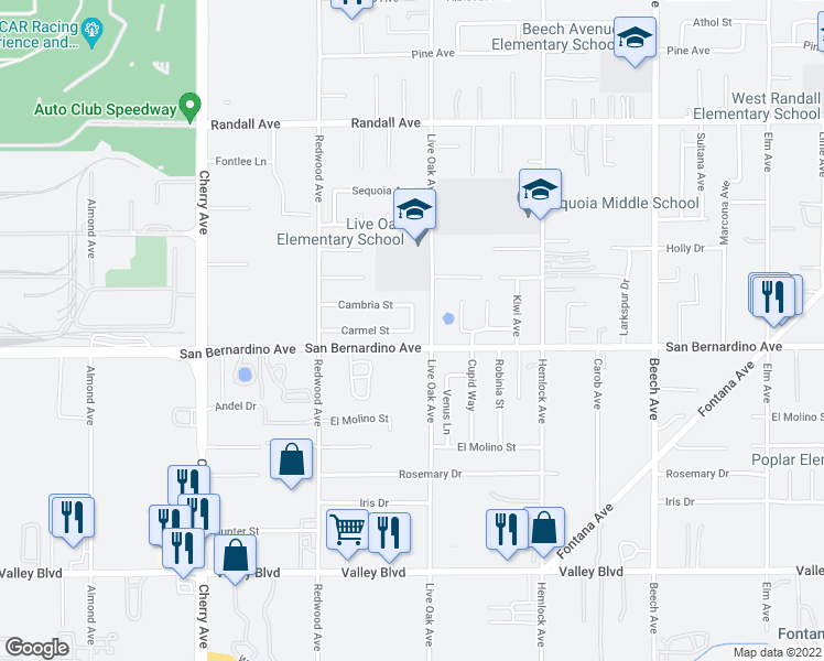 map of restaurants, bars, coffee shops, grocery stores, and more near Carmel Street in Fontana