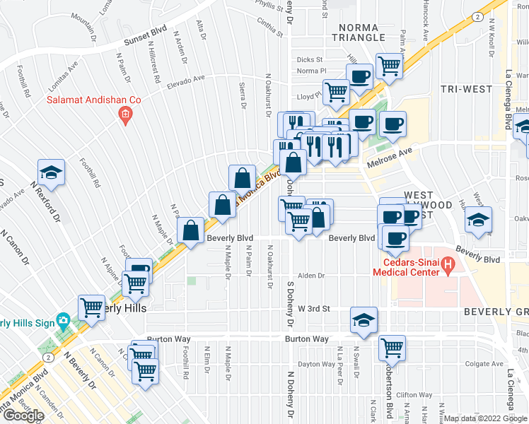 map of restaurants, bars, coffee shops, grocery stores, and more near 443 North Palm Drive in Beverly Hills