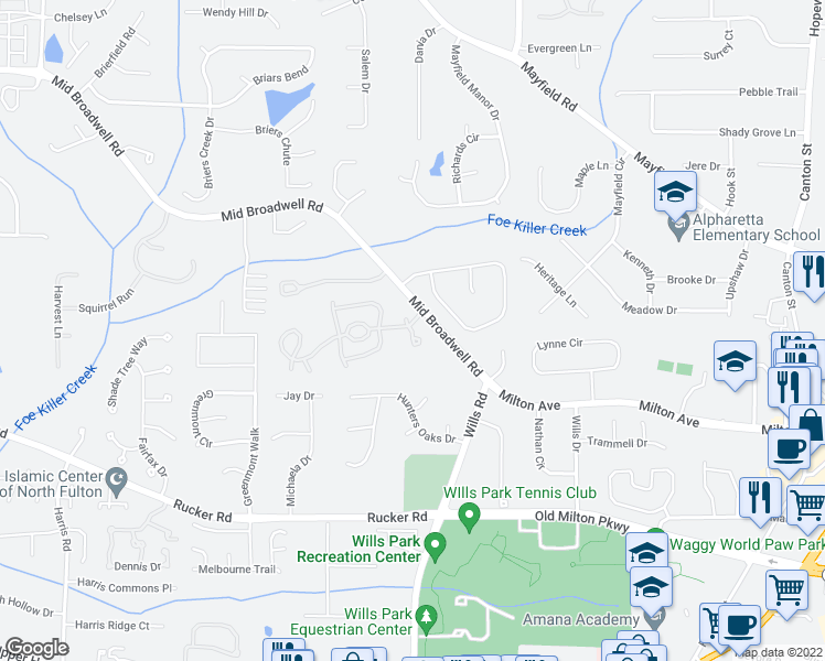 map of restaurants, bars, coffee shops, grocery stores, and more near Lexington Farms Drive in Alpharetta