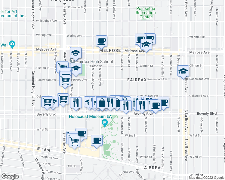 map of restaurants, bars, coffee shops, grocery stores, and more near 425 North Sierra Bonita Avenue in Los Angeles